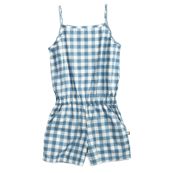 Oeuf Poplin Playsuit Blue Gingham