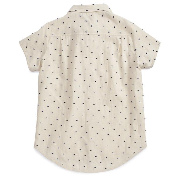 Noch Mini Short Sleeve Shirt Navy Clip Dot