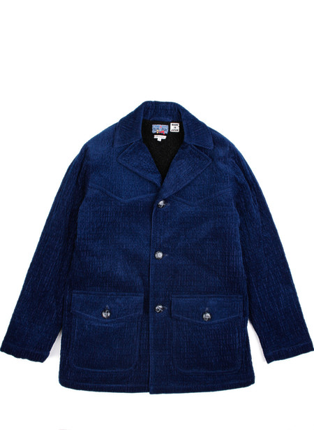Men's Blue Blue Japan Woven Indigo Wavy Corduroy Ranch Coat