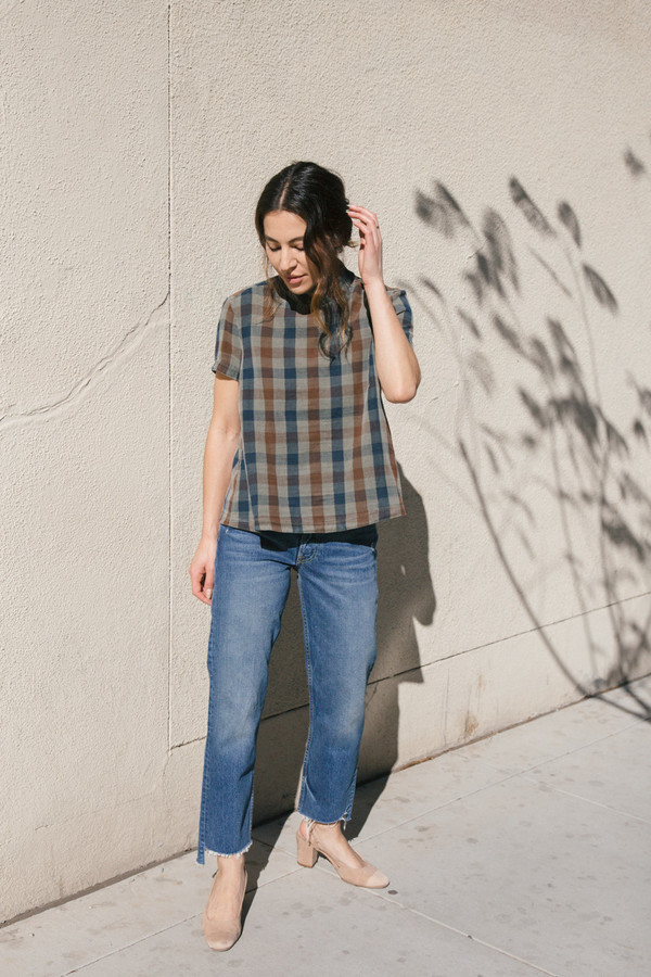 stateside plaid button blouse