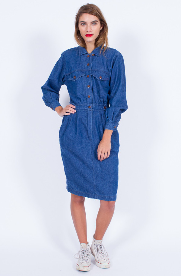 Yo Vintage! DENIM SHIRT DRESS (SMALL)