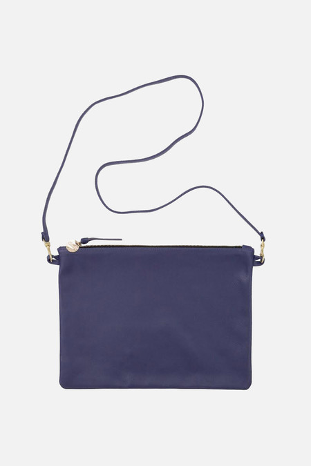 Clare V. Sac bretelle in navy saffiano