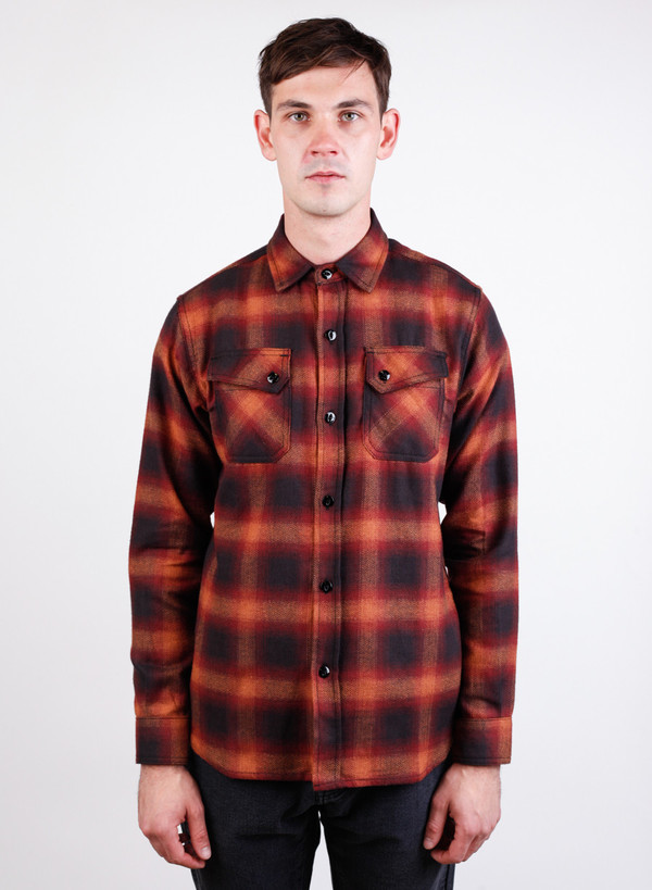 Men's 3Sixteen Crosscut Flannel Orange Ombre