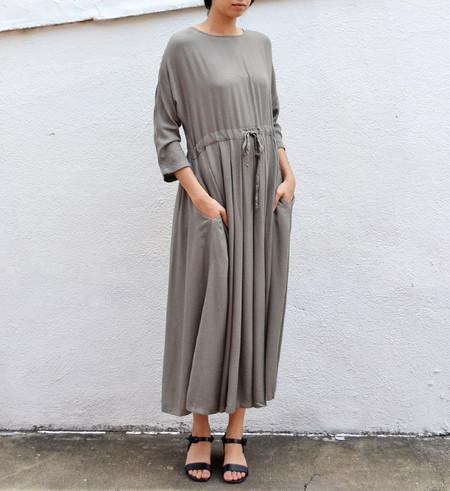 Black Crane Cement Pleated Dress