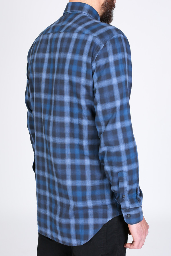 Men's Billy Reid John Shirt in Blue/Charcoal