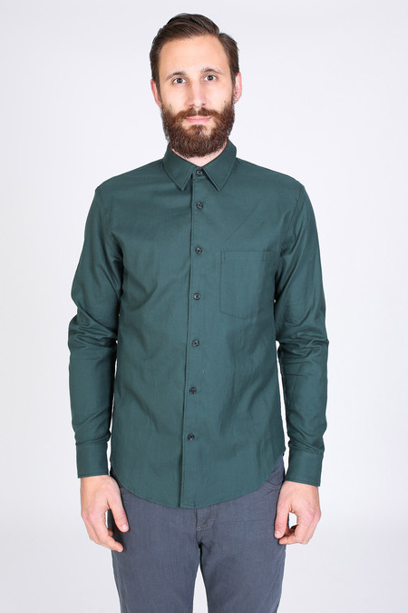 Men's Steven Alan Outseam Shirt in Forest