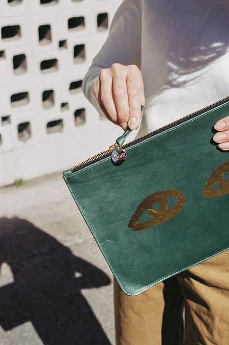 Clare V Flat Clutch - jade veg with gold eyes