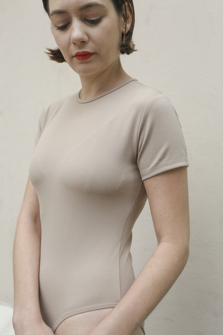 Maryam Nassir Zadeh Lara T-Shirt Leotard in Tan