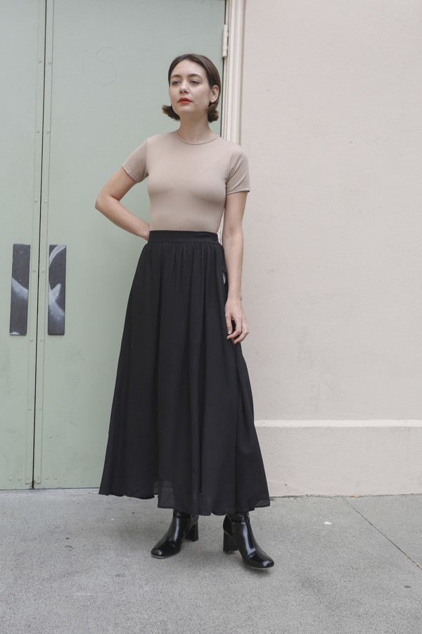 NONNA Vintage Byblos Semi-Sheer Long Black Skirt