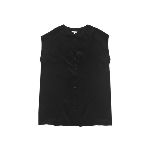 Ali Golden Silk Button-Down Tunic - Black