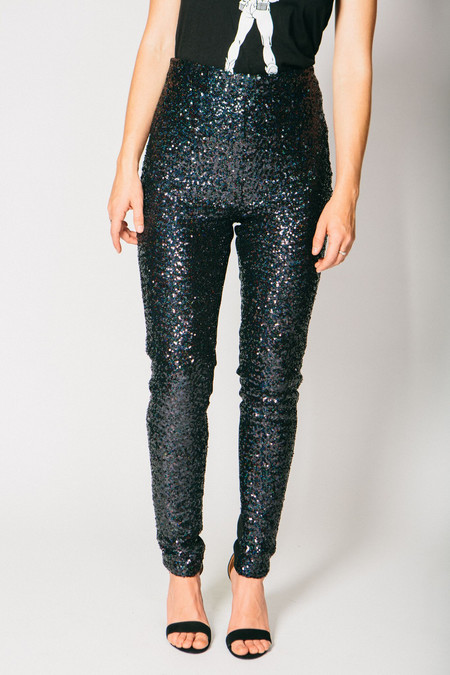 Any Old Iron Black Sequined Leggings