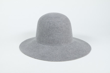 Clyde Wide Brim Dome Hat in Heather Grey Wool