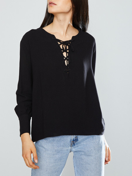 First Rite Lace-Up Blouse