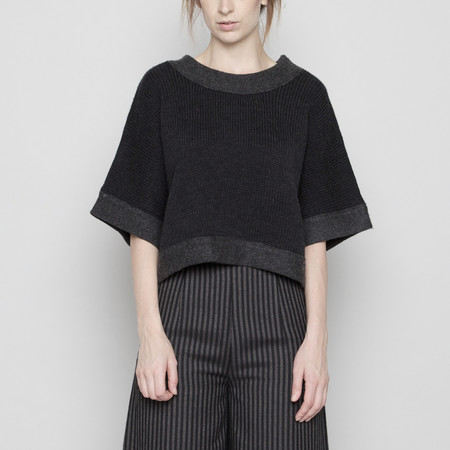 7115 by Szeki Boiled Wool Trims Sweater - Charcoal FW16