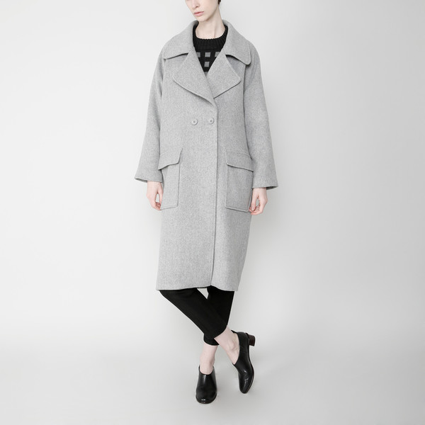 7115 by Szeki Long Wool Coat - Gray FW16