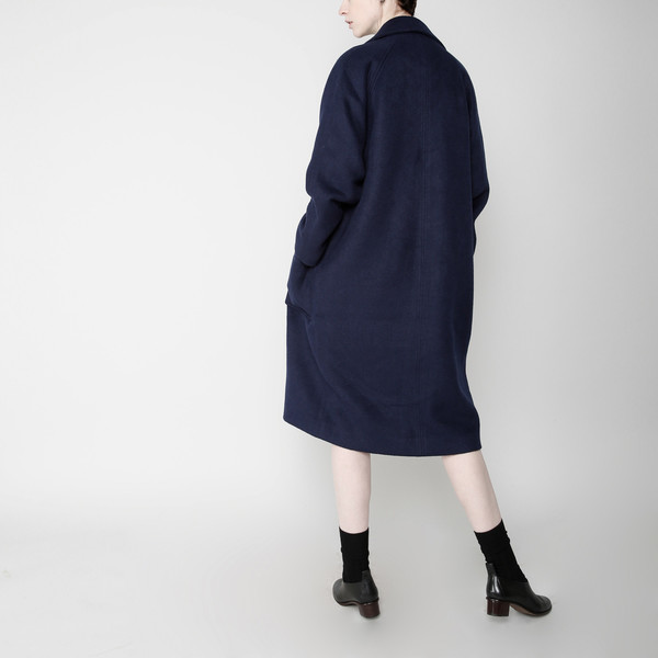 7115 by Szeki Long Wool Coat - Navy FW16