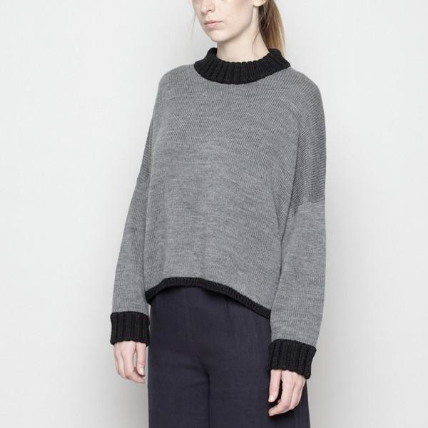 7115 by Szeki Mock-Neck Merino Sweater - Gray + Black FW16
