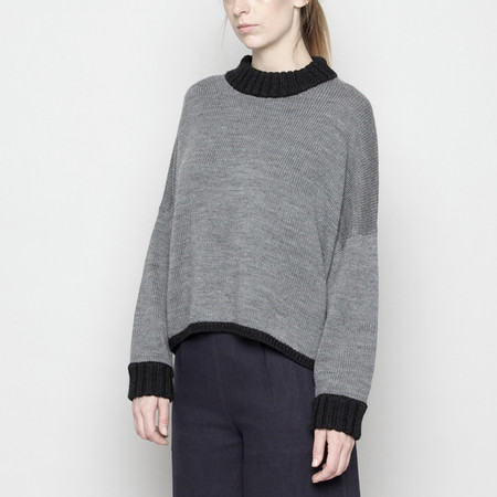7115 by Szeki Mock-Neck Merino Sweater - Gray + Black FW16