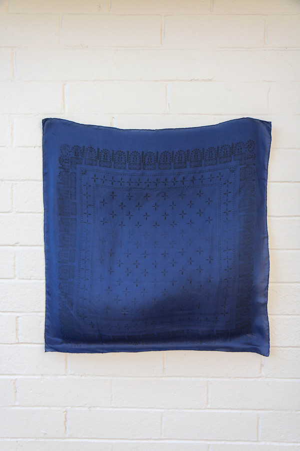 1930s Washed Silk Bandana in Navy