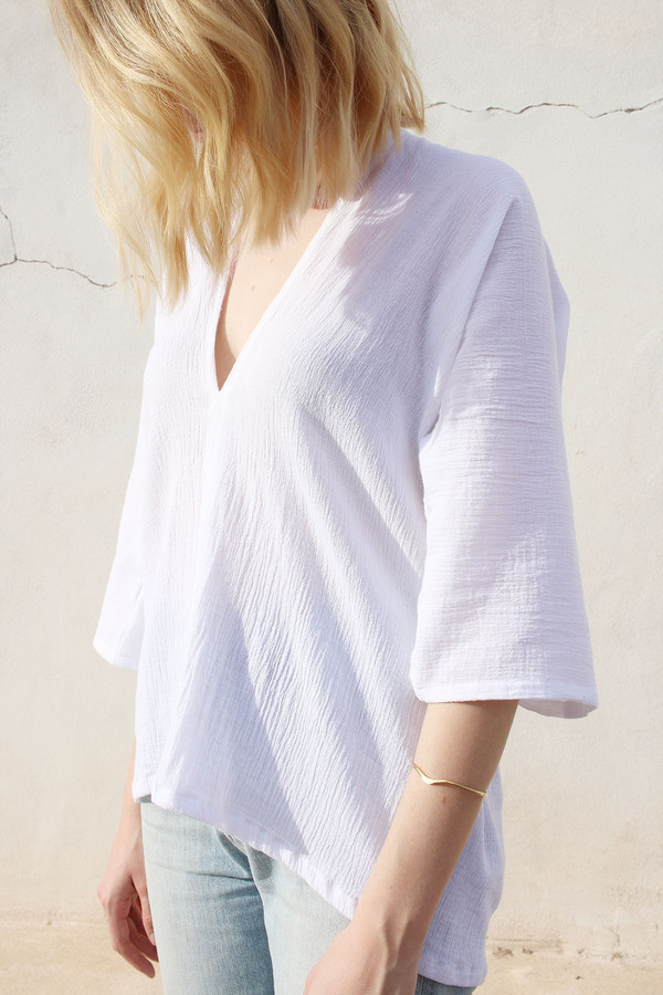Muse Top in White Cotton Gauze