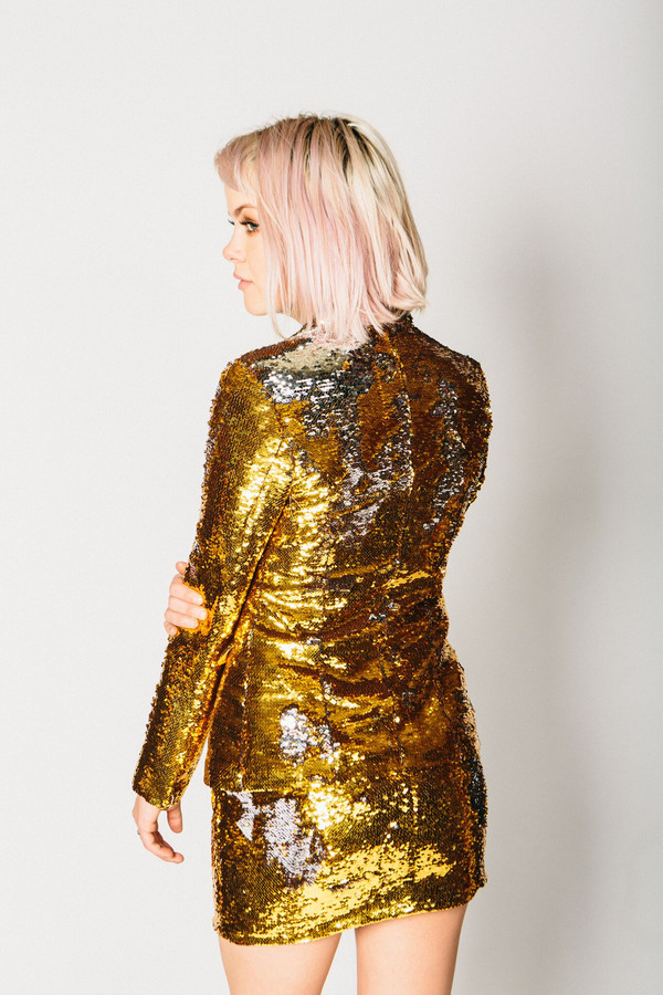Any Old Iron Gold/Silver Sequin Suit Jacket