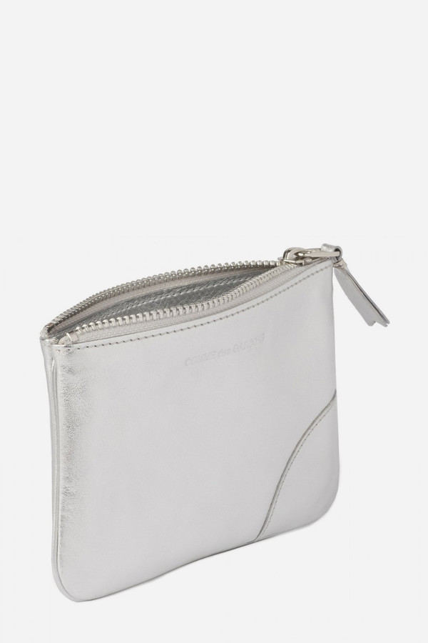 Comme des Garçons Leather SA-8100G Zip Pouch - Silver