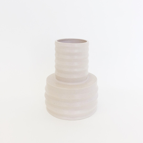 Ashley Hardy Beige Pleated Multilevel Vase