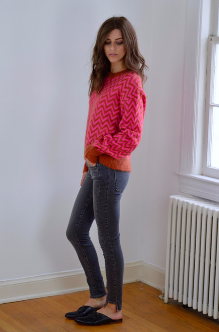 Designer's Remix Fundy Sweater Neon Pink/Caramel