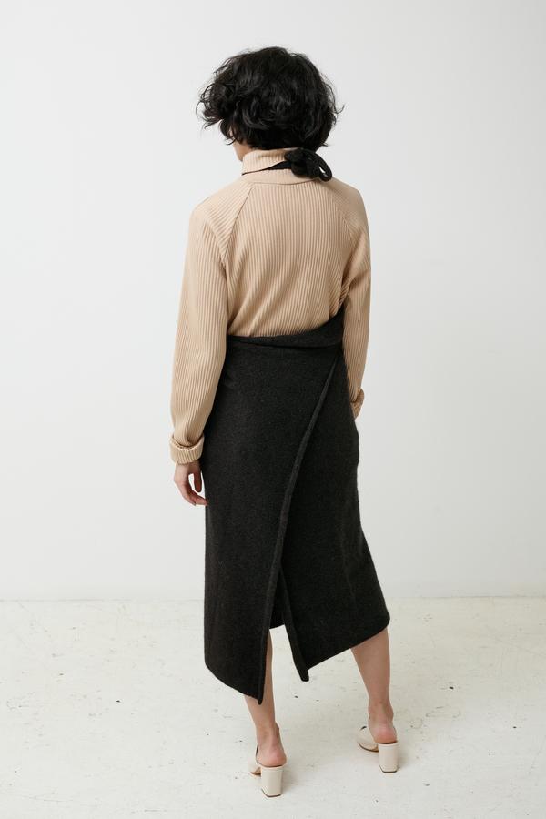 BaseRange Knit Apron Dress - black melange