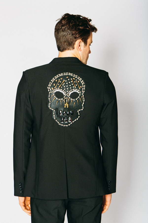 Men's Any Old Iron Pinned Skull Blazer