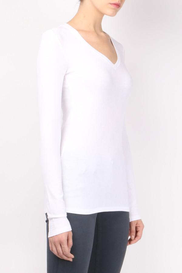 ATM Long Sleeve V Neck Rib Shirt White