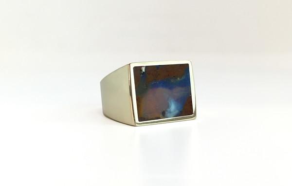 Legier Australian Boulder Opal Stone Signet Ring