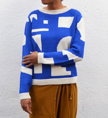 Dusen Dusen Blue Silhouettes Sweater