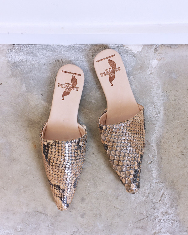 Brother Vellies Python Sister Mules