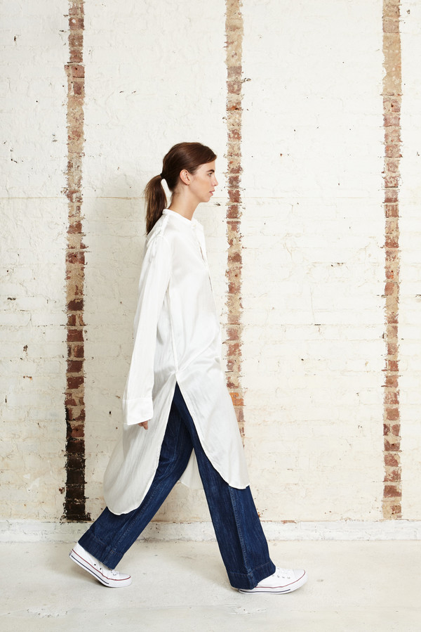 OffSeasonNYC Cosmos Tunic Silk Satin White