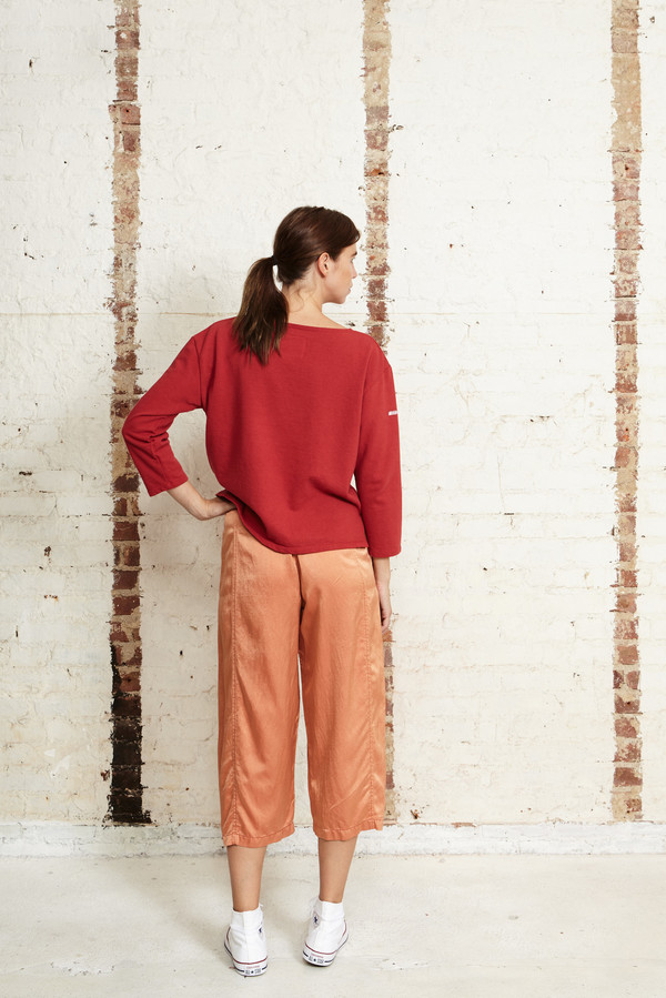 Off Season NYC Zinnia Pant Silk Satin Terracotta