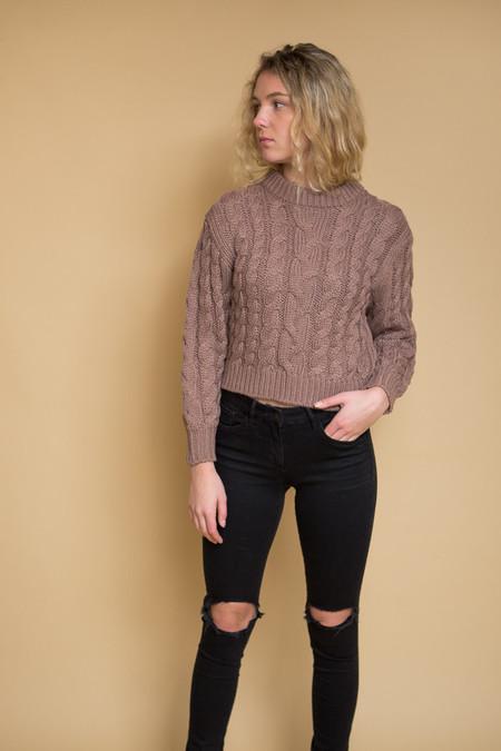 Callahan Braid Crop Sweater / Lilac