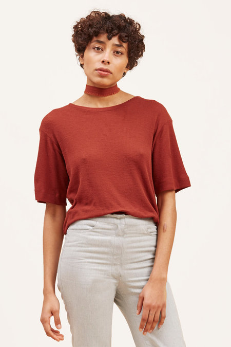 Waltz Fine-Ribbed Wool T-Shirt – Rust