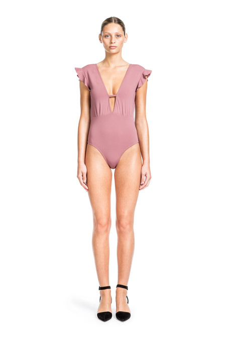 Beth Richards Sophia One Piece - Petal <div>PLUNGING V-NECK ONE PIECE WITH RUFFLE DETAIL ON SHOULDER</div>