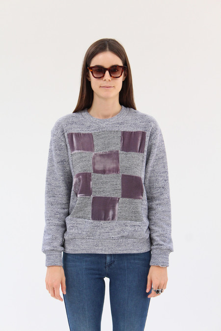 Correll Correll Checkered Velvet Sweatshirt