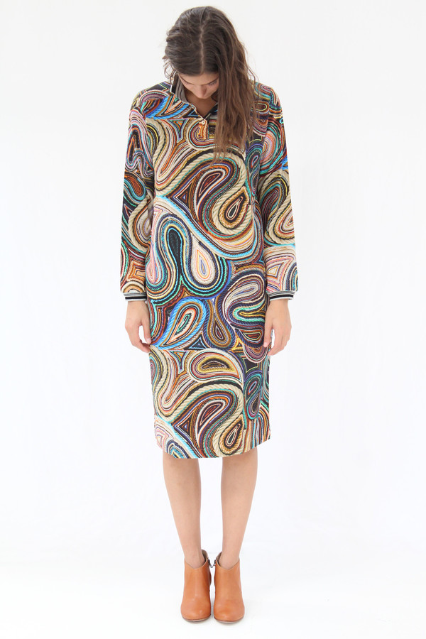 Hui Hui Polo Dress Silk String Paisley