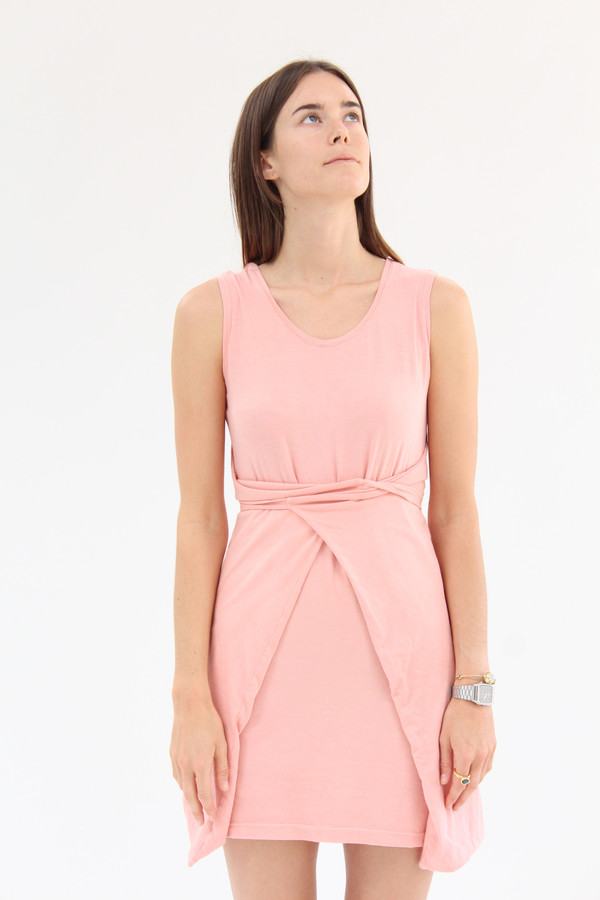 Beklina  Criss Cross Jersey Wrap Dress Shrimp