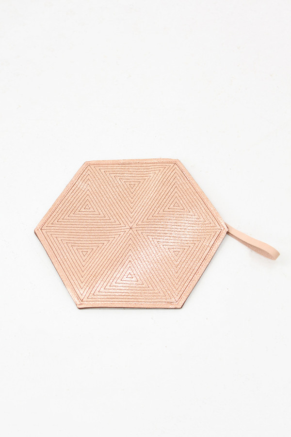 Molly Designs Metallic Leather Hexagon Pouch