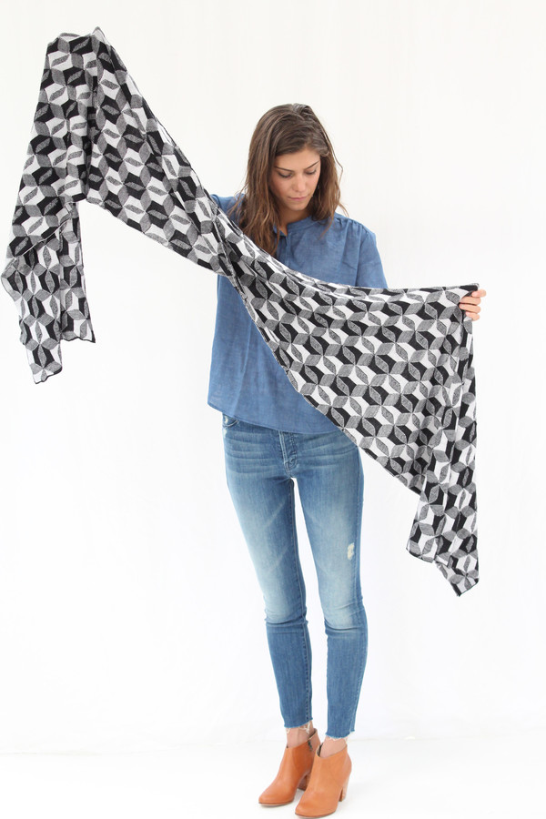 Micaela Greg Optic Scarf Black & White