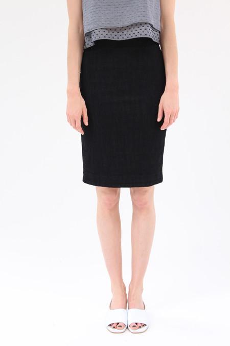 Prairie Underground Micro Line Denim Skirt Black