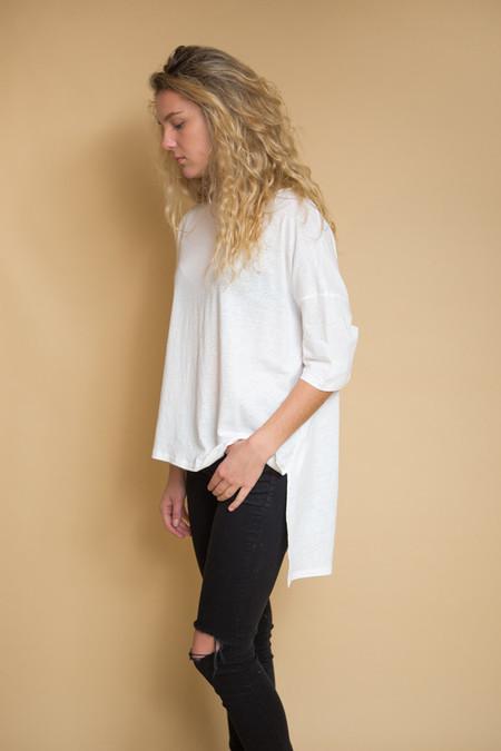 OAK Wide Tee Linen Cotton Jersey - White