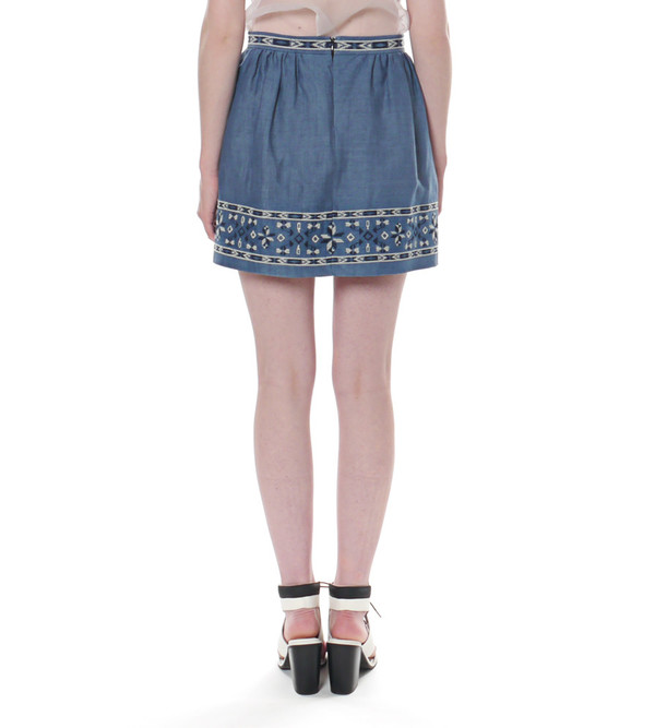 Sea NY Denim Pleated Skirt