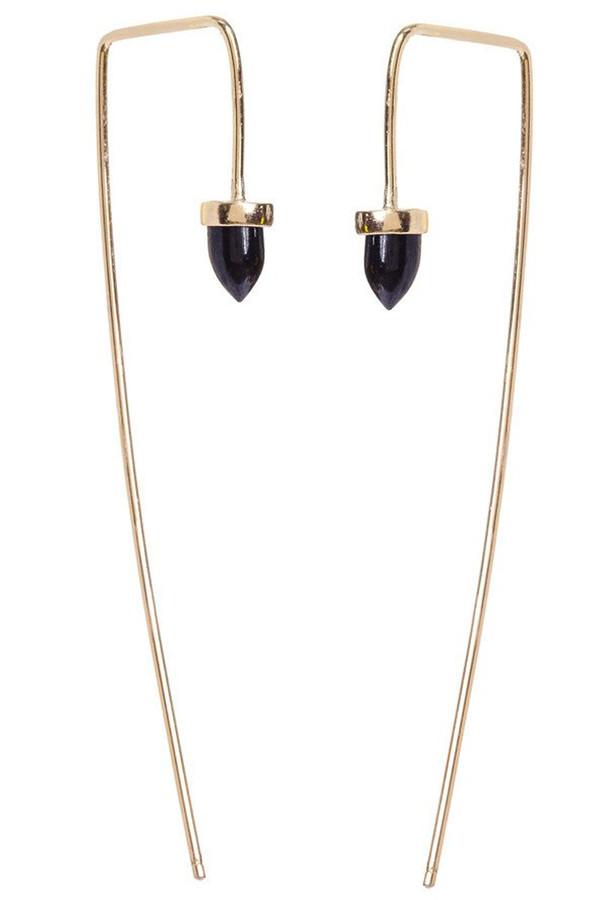 Bing Bang NYC Long Gemstone Bullet Threader in Black Spinel