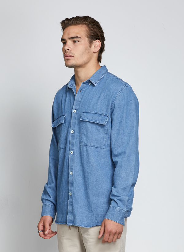 Men's Barney Cools Worker LS Chambray