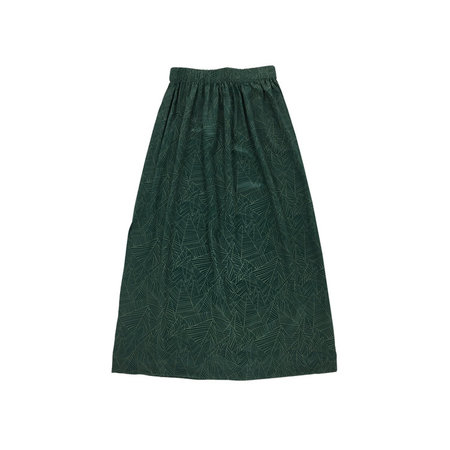 Ali Golden Silk Midi Skirt - Green Print